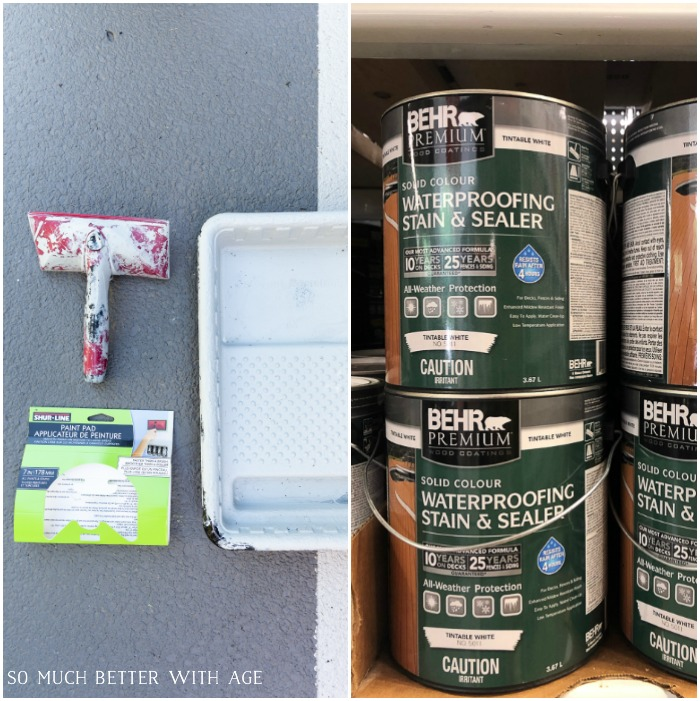 Behr waterproofing stain and sealer solid colour.