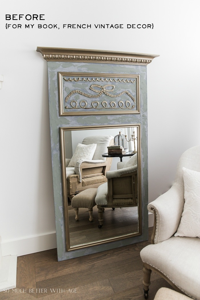 Before long French mirror with gold and green paint.
