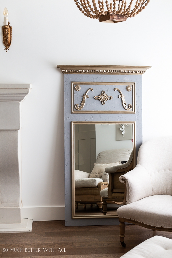 French gold mirror with grey and beautiful design.