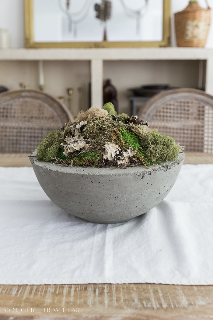 Moss in concrete bowl sitting on a table.