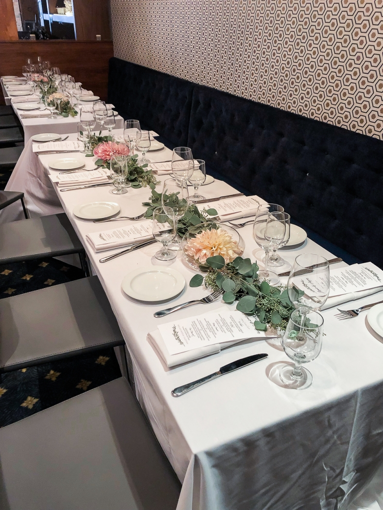 Tables set up for the reception.