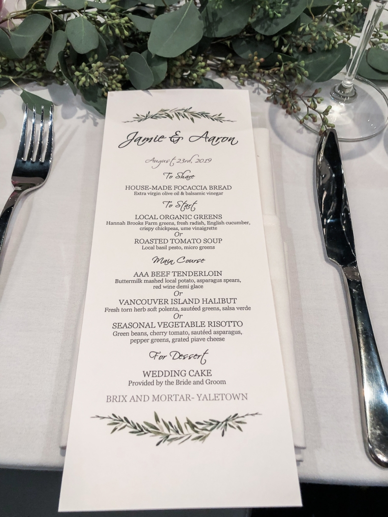 The menu for the dinner.