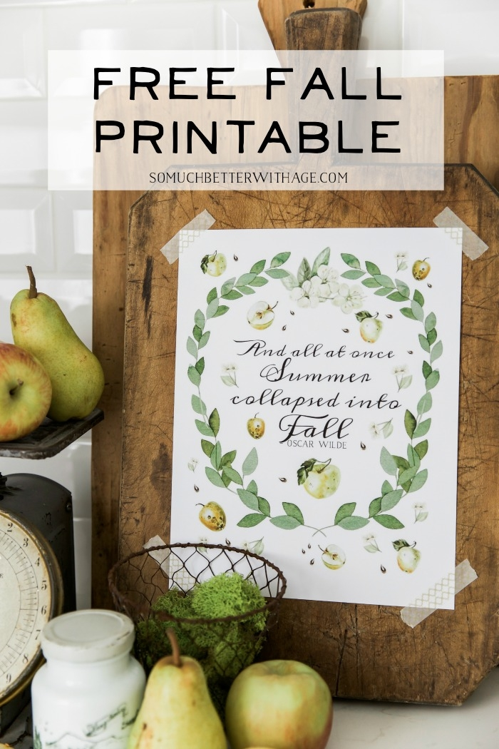 Free Fall Printable with apples and eucalyptus.