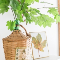 Fall Mantel Decorating with Pressed Leaves