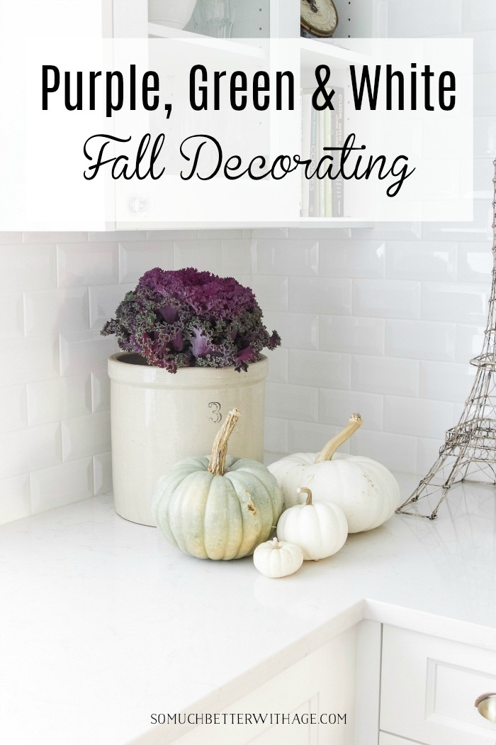 Purple, green and white fall decorating