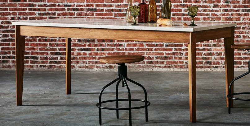 Wood and marble table from Six Penny Home.