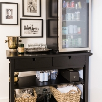Bar Area Fills an Awkward Space & Bar Carts