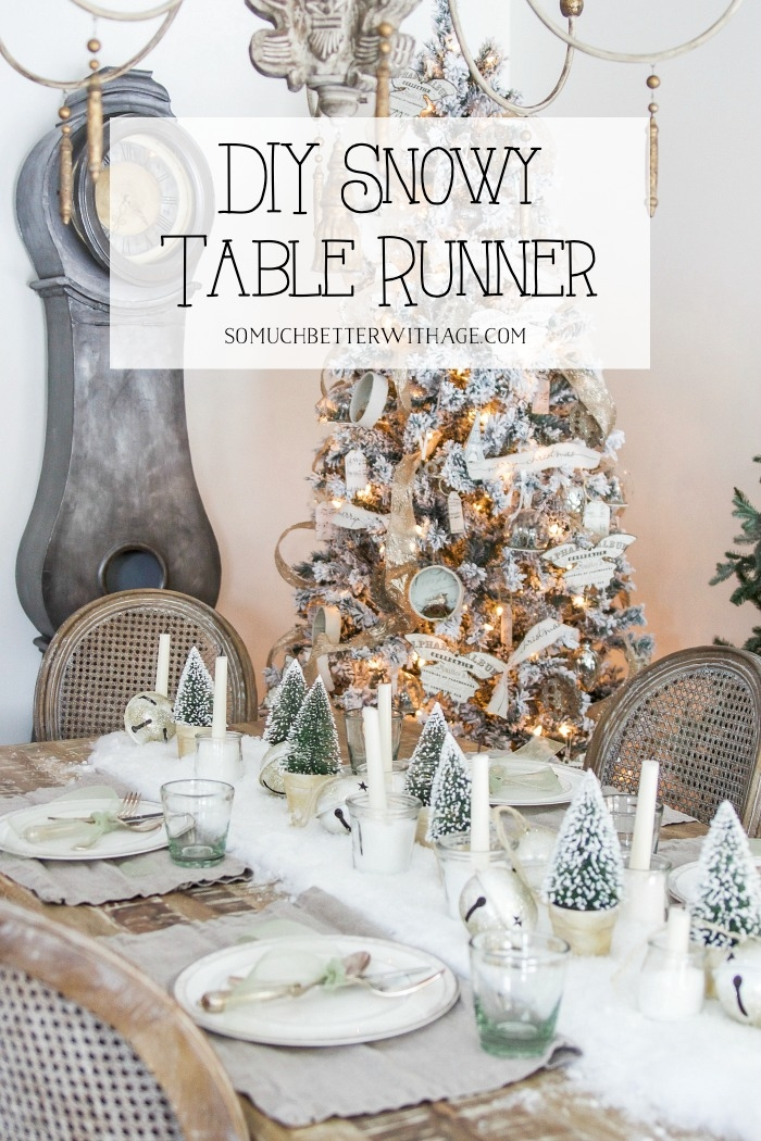 DIY Snowy Table Runner poster.