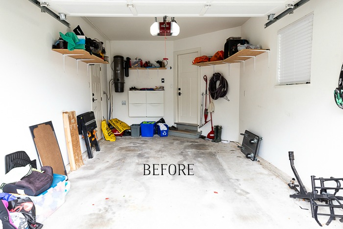 Before photo of messy garage.