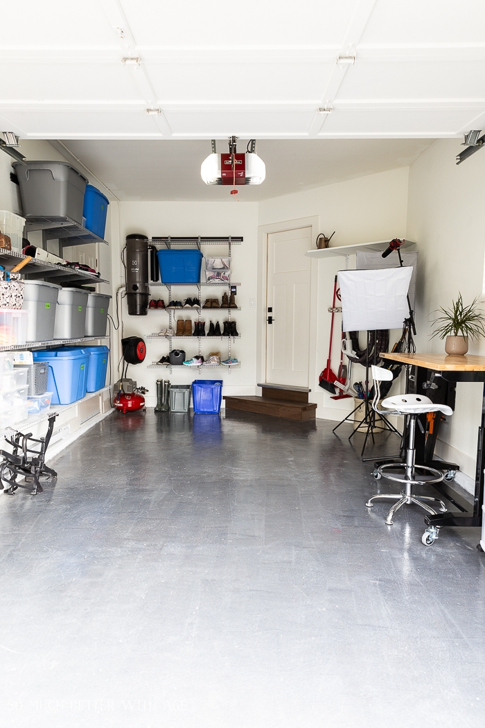 Organized garage workshop.