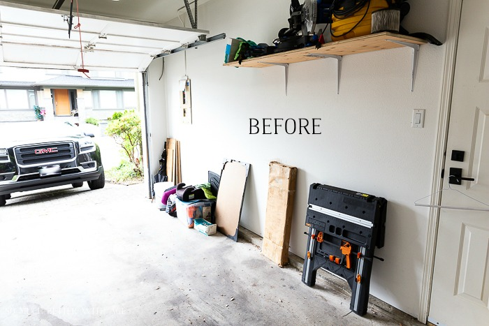 Photo of garage with before typed on it.