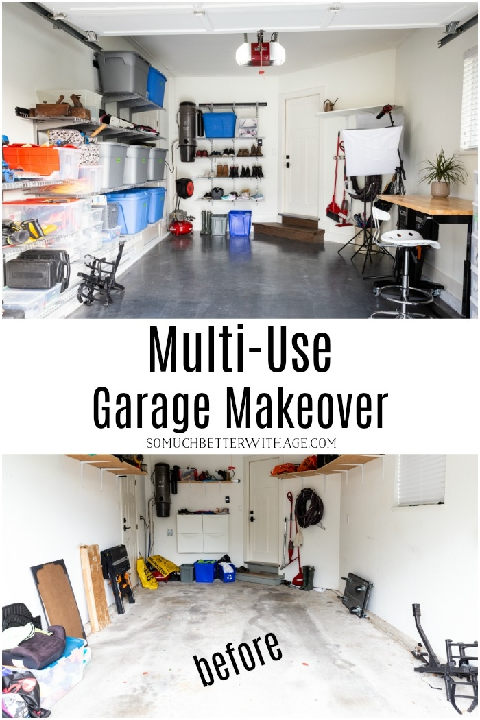 Before and after of multi-use garage makeover.