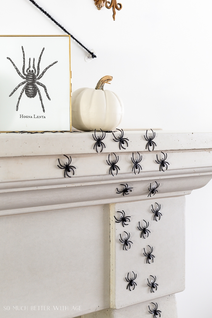 Photo of spider along with plastic spiders on mantel.
