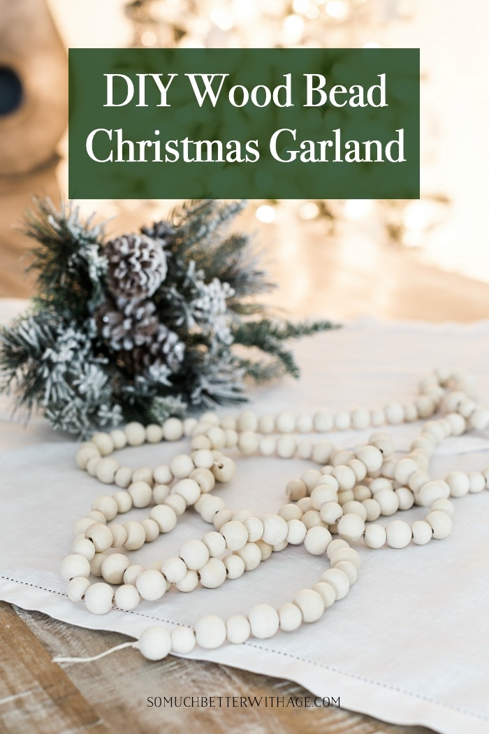 DIY Wood Bead Christmas Garland.