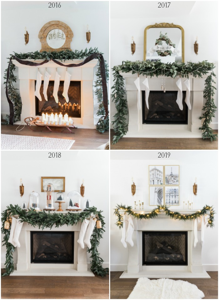 Four different ways a mantel is decorated for Christmas.