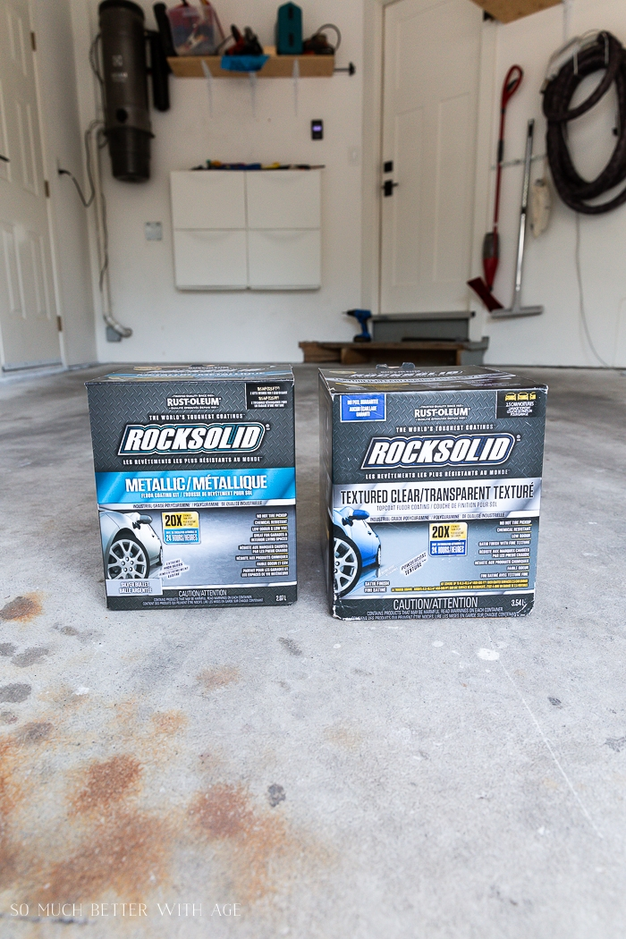 Photo of Rust-oleum Rocksolid products in garage.