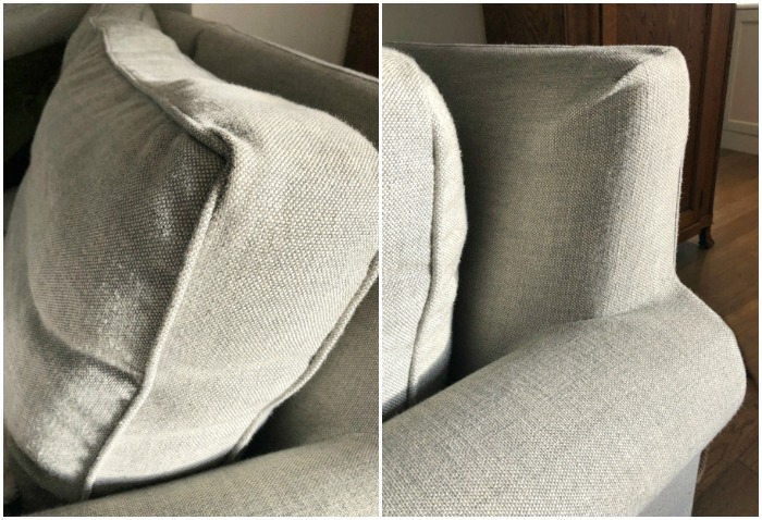 Close-up shot of side of couch.
