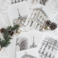 Snowy Paris Buildings Printables