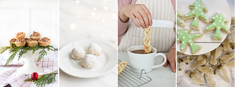 Christmas tree cookies and dipping cookies in chocolate poster.