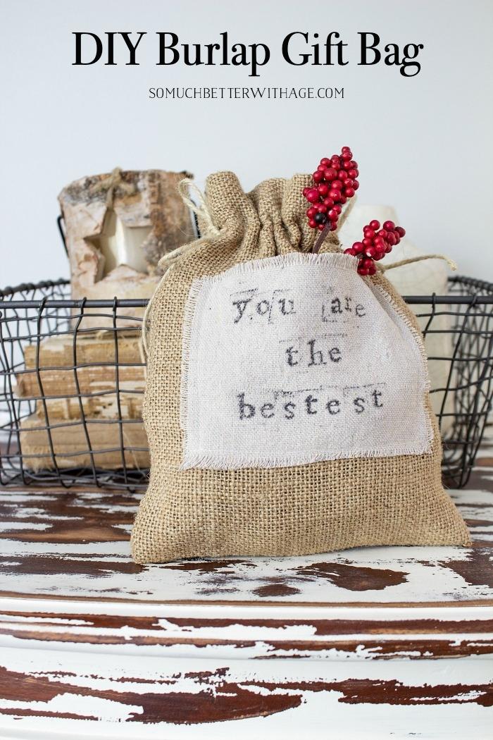 DIY Burlap Gift Bag graphic.