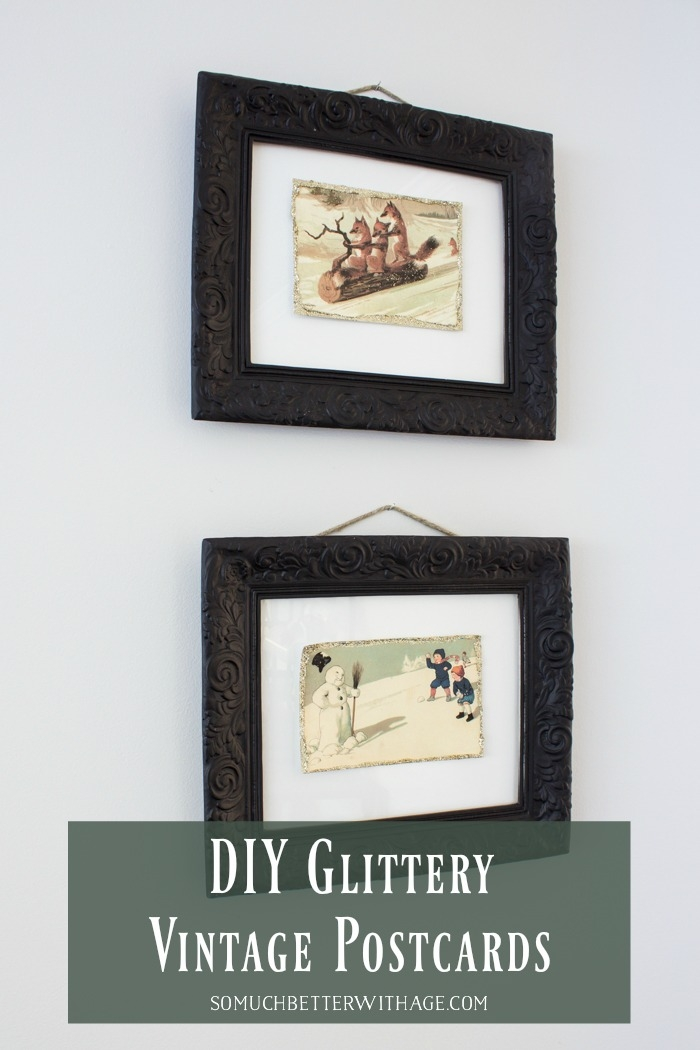 DIY Glittery Vintage Postcards