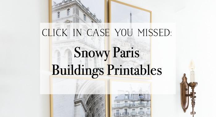 Snowy Paris Buildings Printables graphic.