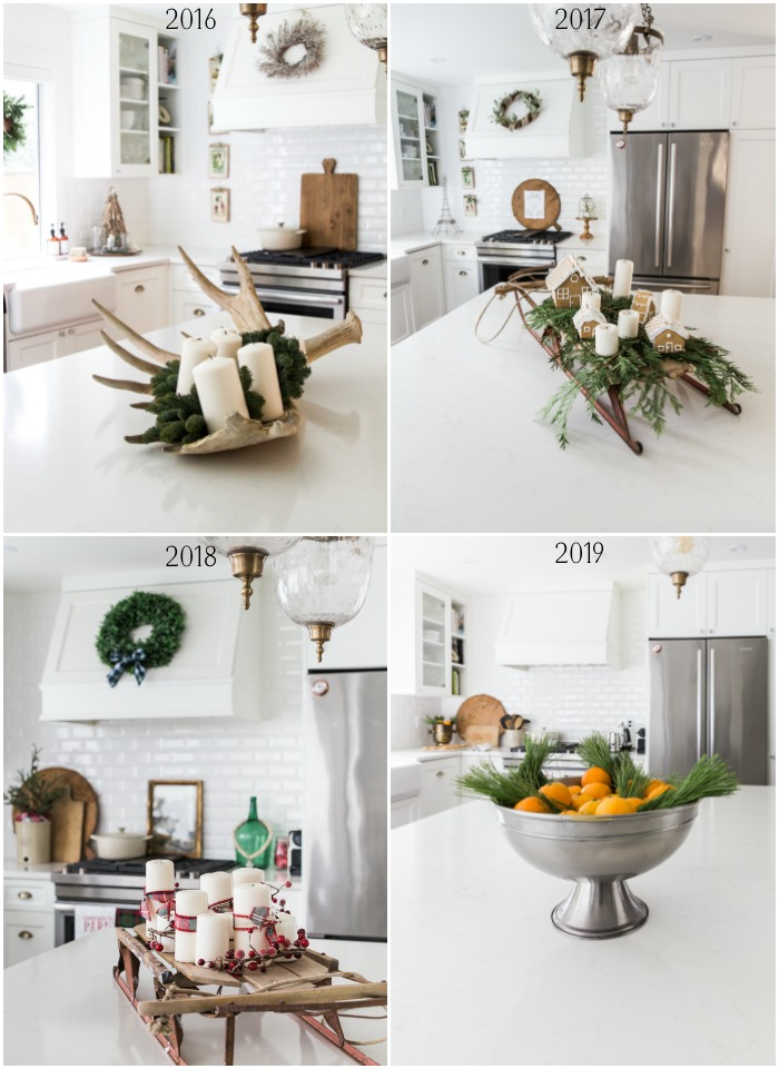 Four images of Christmas decor on kitchen island in same kitchen.