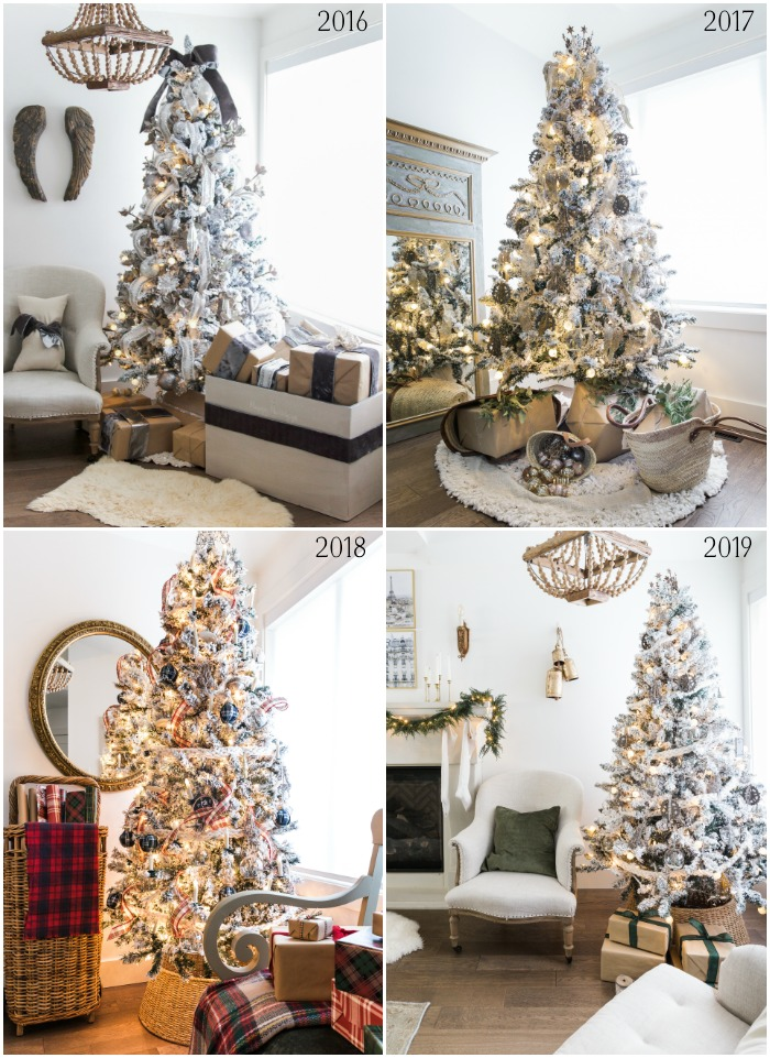 Four images of Christmas tree decorated in same room.