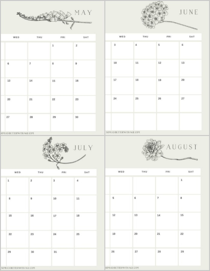 2020 printable calendar with floral images.