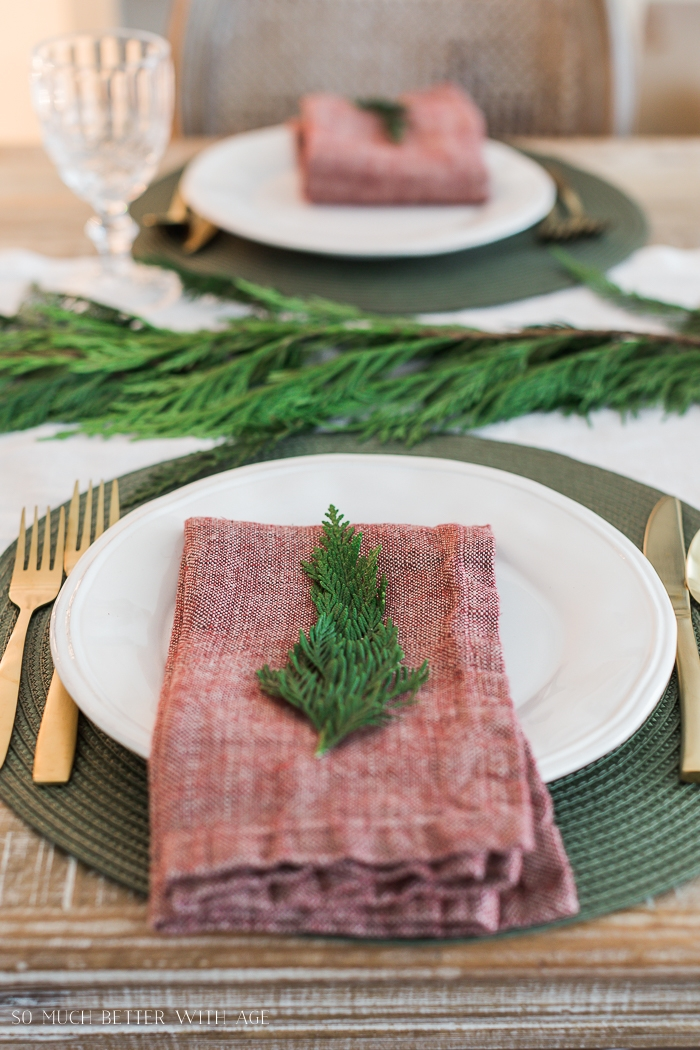 Greenery on red napkin on a plate.