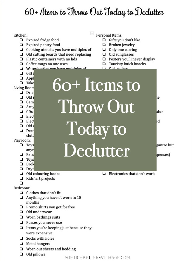 60+ Items to Throw Out Today to Declutter