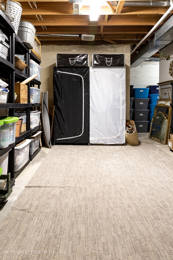 Organized basement with shelves and wardrobes.