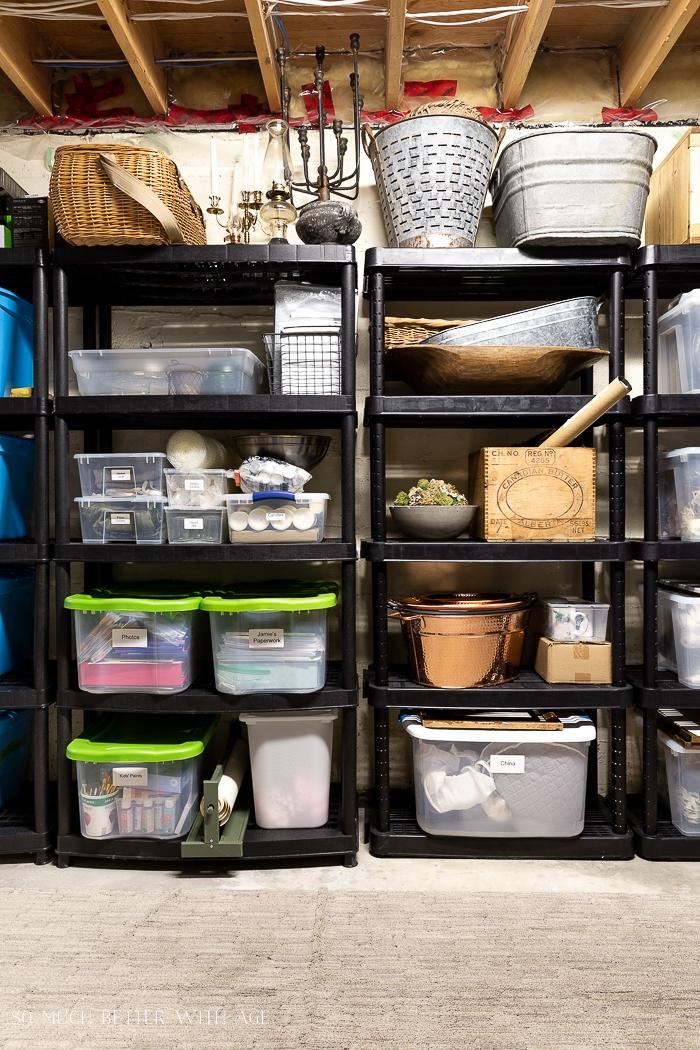 Decor on shelves with storage bins.