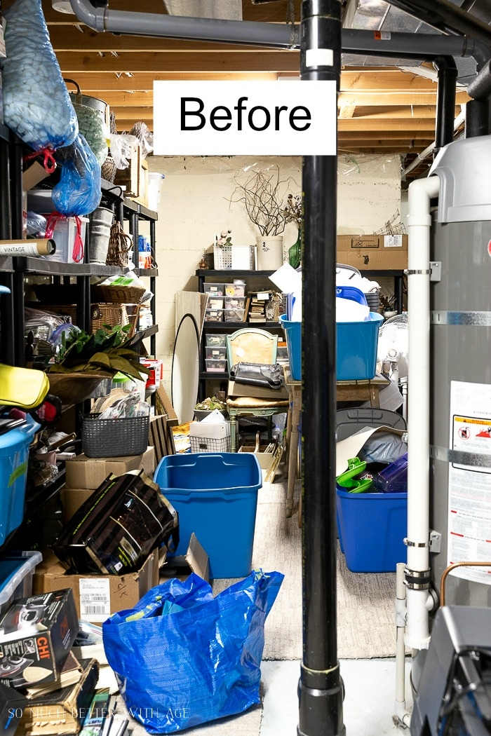 Messy cluttered basement.