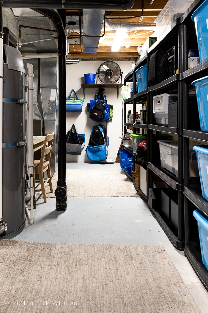 Basement organized with shelves and bins.