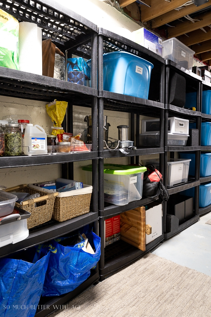 Storage area with bins.