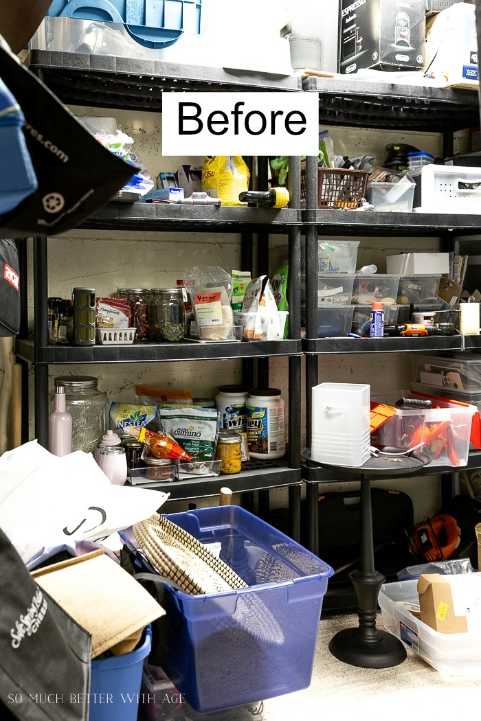 Lots of stuff on shelves and mess everywhere.