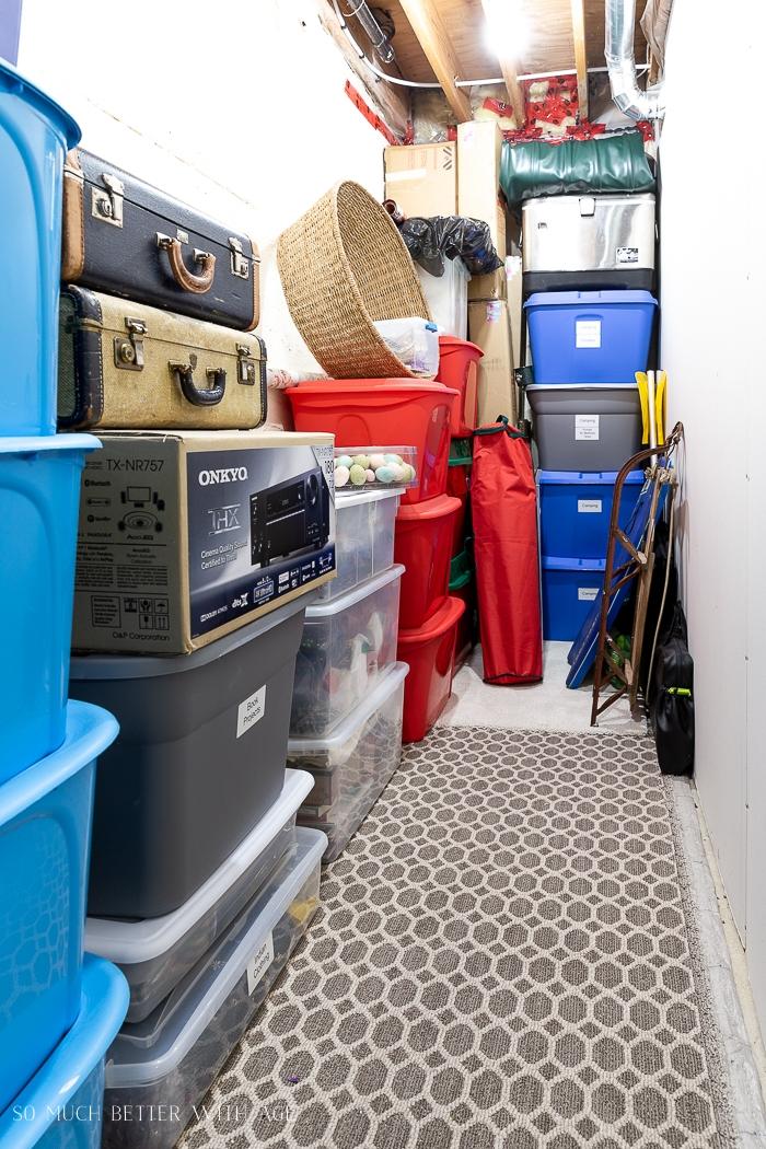 Bins and storage area.