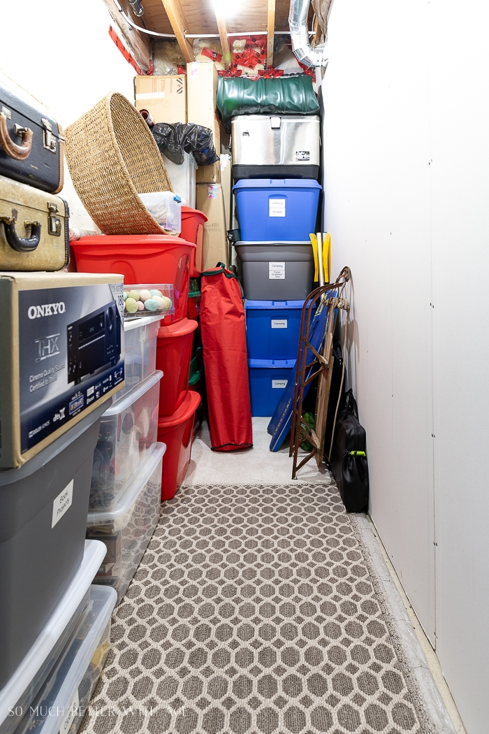 Storage bins in narrow area.