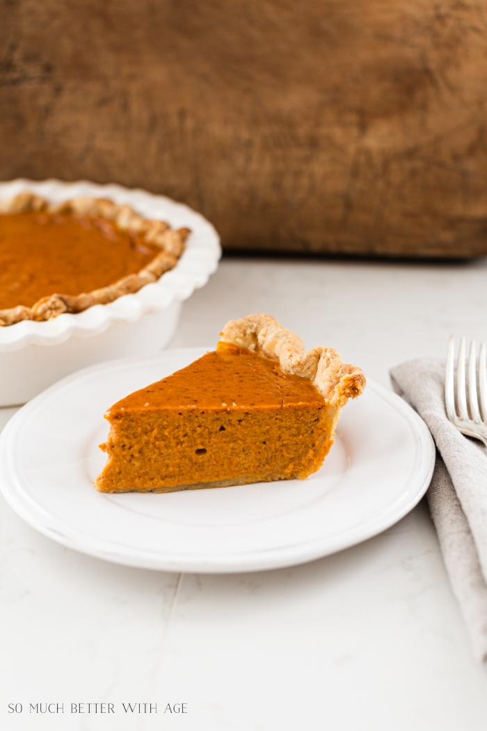 Close-up of a slice of pumpkin pie.