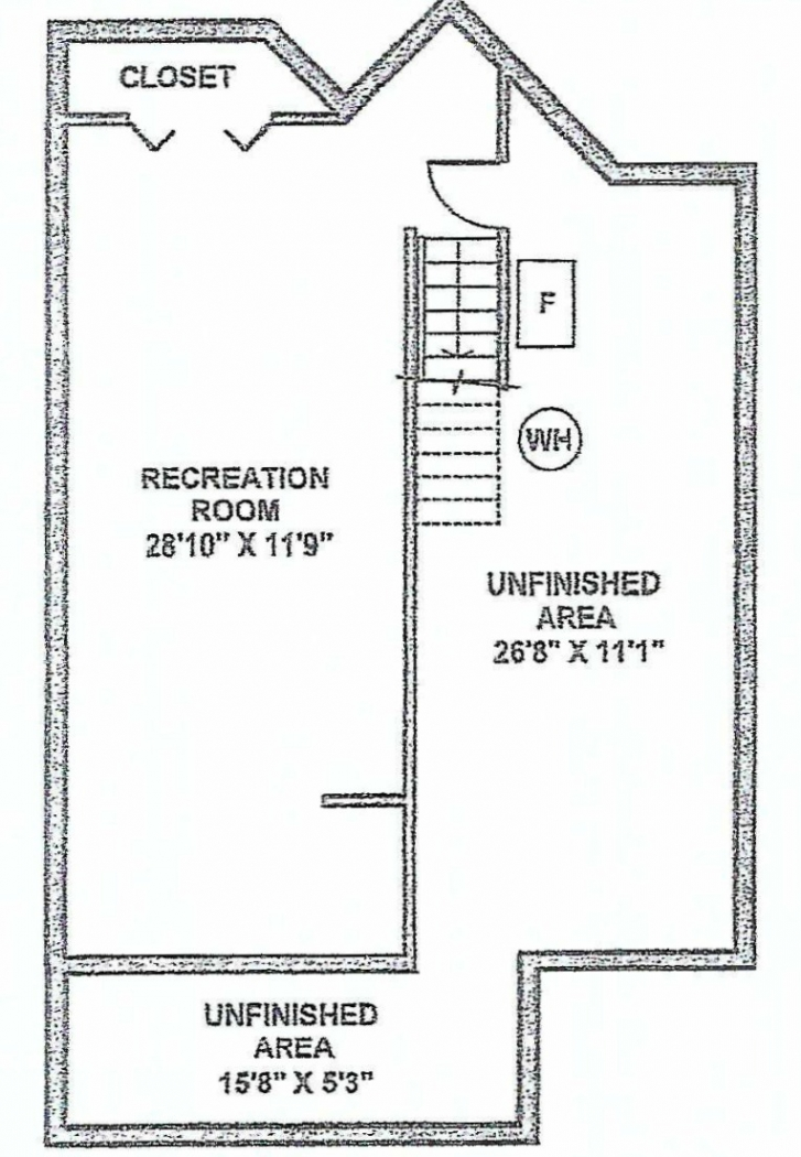 Floor plan of a basement.