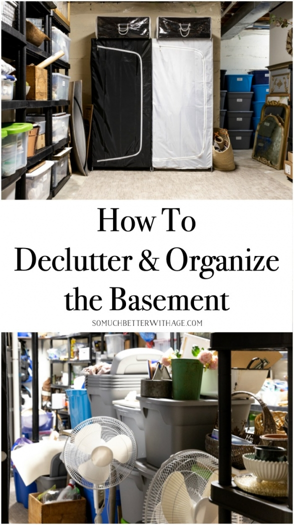 How to Declutter and Organize the Basement - before and after.