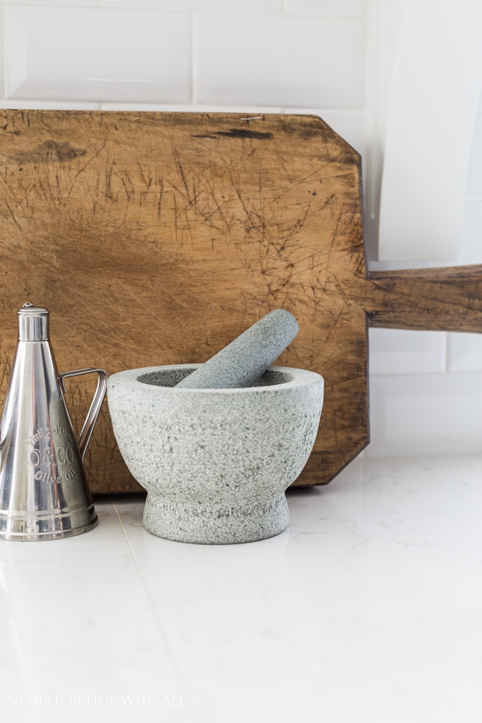 Close up of mortar and pestle in the kitchen.