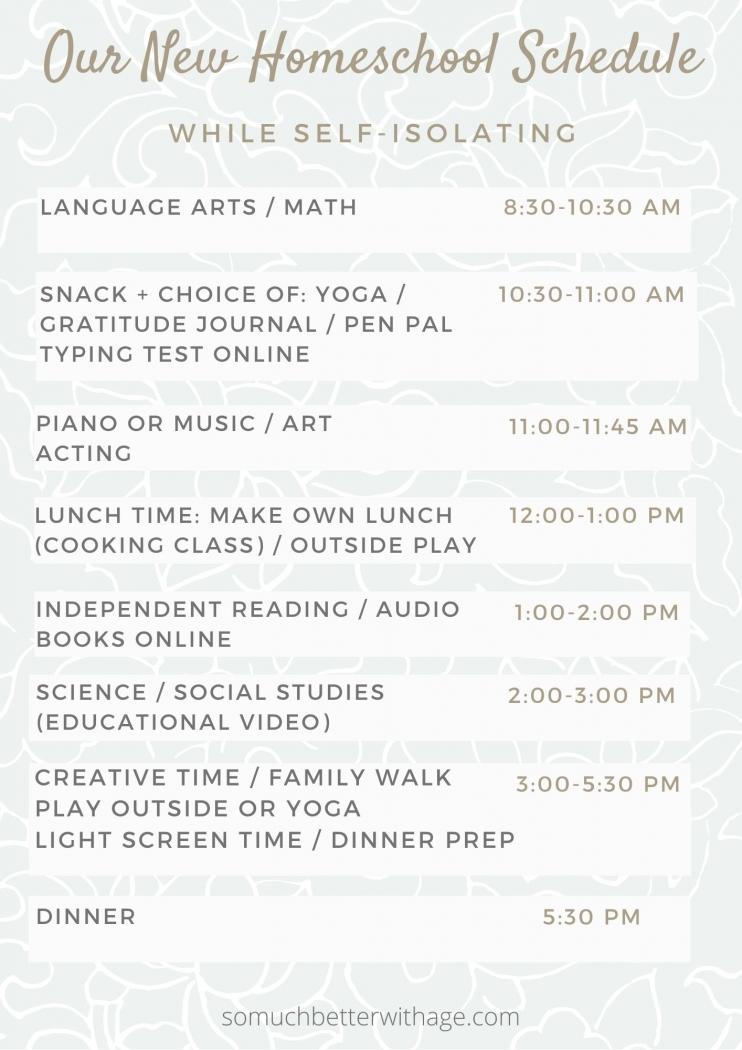 Our New Homeschool Schedule.