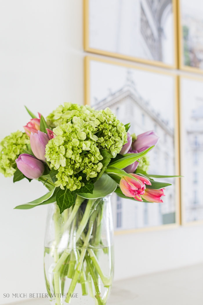 Green hydrangeas with tulips.