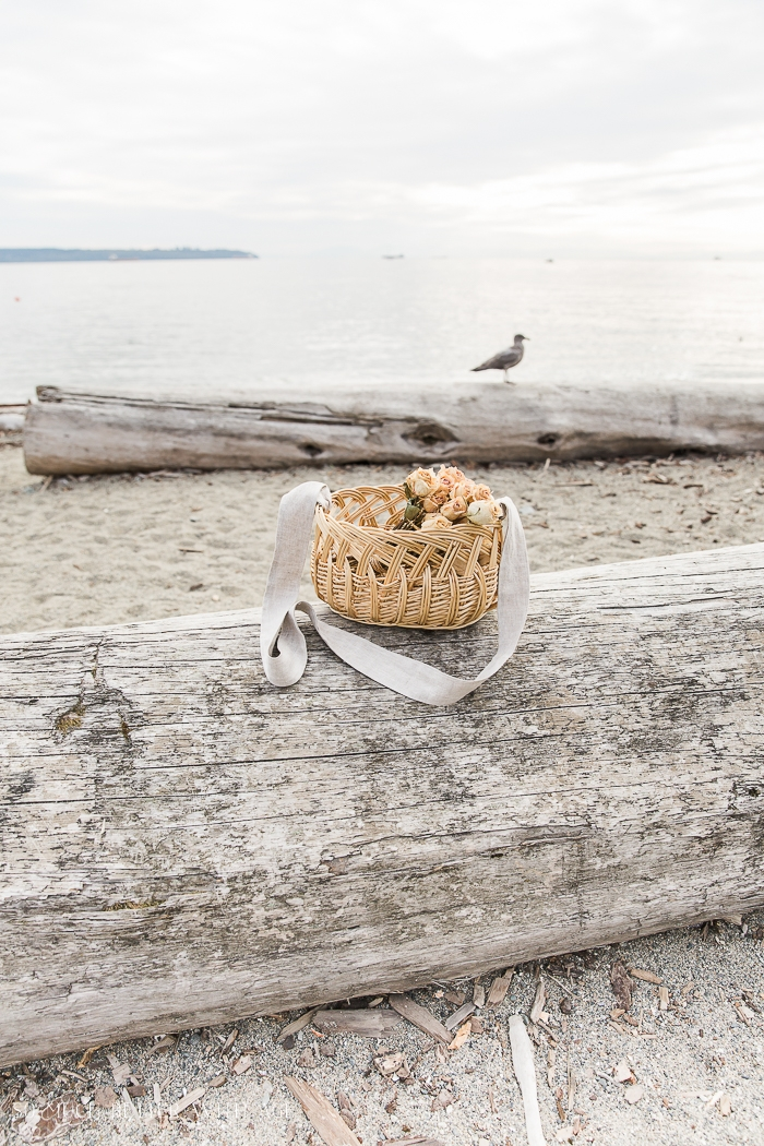 Basket on log on beach with seagull in background.