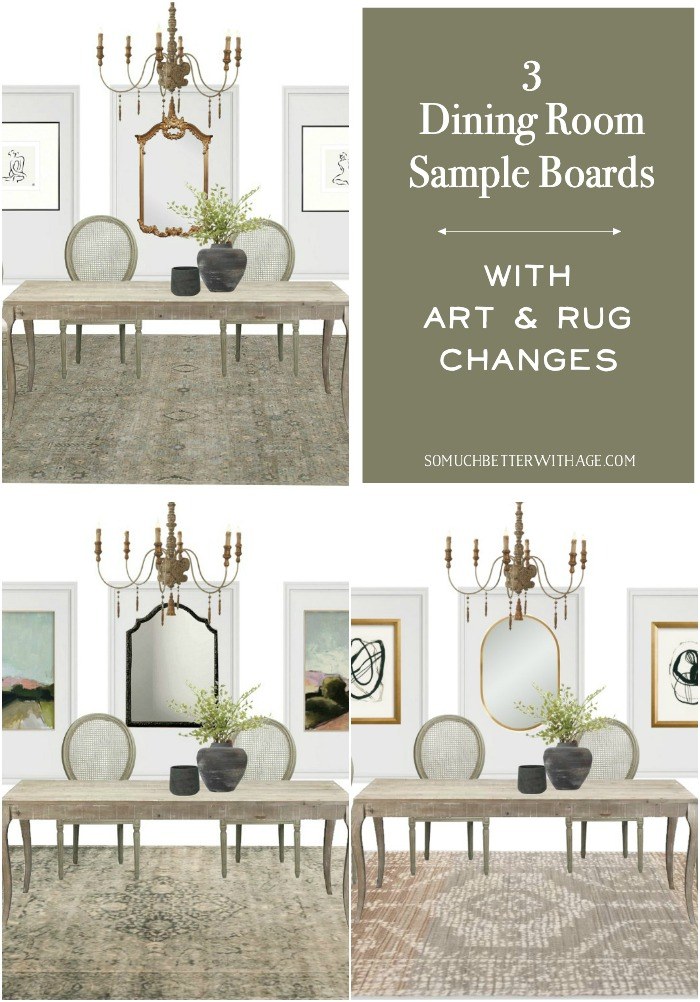 3 Dining Room Sample Boards with Art and Rug Changes.