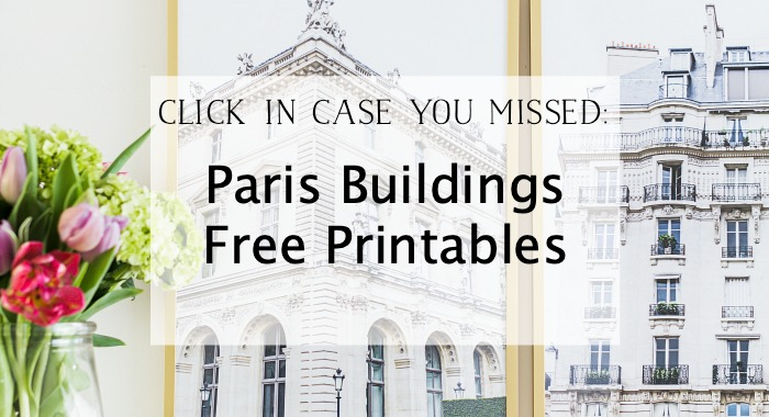 Paris Buildings Free Printables graphic.