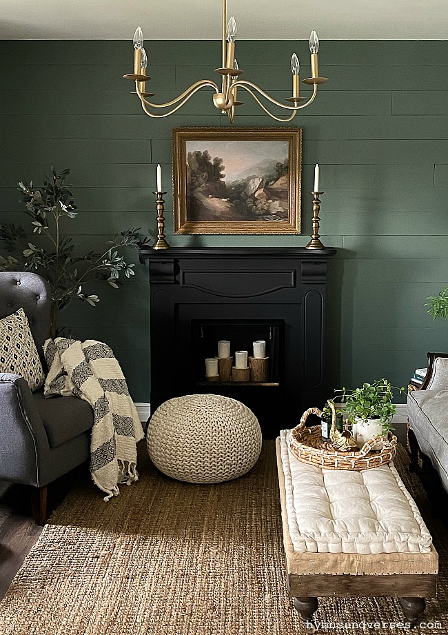 Green painted wall in living room by Hymns and Verses. Luxe by Magnolia Paints.