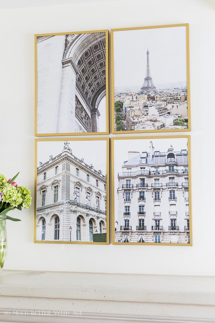 Beautiful Paris architecture photos in frames.
